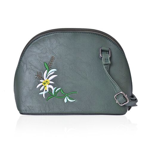 Dark Green, White and Multi Colour Flower Embroidered Crossbody Bag with Adjustable Shoulder Strap (