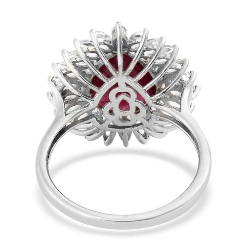 African Ruby (Pear 5.15 Ct), White Topaz Ring in Platinum Overlay Sterling Silver 7.500 Ct.