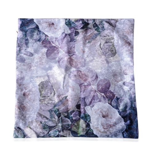 Set of 2- Purple and Multi Colour Cushion with White Rose Print (Size 45x45 Cm)