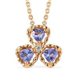 GP Tanzanite and Multi Gemstone Shamrock Pendant with Chain in Gold Plated Silver 18 Inch