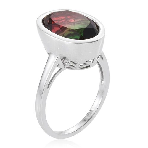 Tourmaline Colour Quartz (Ovl) Solitaire Ring in Platinum Overlay Sterling Silver 6.500 Ct.