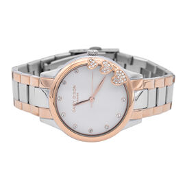 Daisy Dixon Ladies Silver and Rose Gold Bracelet Watch with Mother of Pearl Dial and Stone Studded H