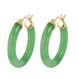 One Time Deal- AAA Green Jade Hoop Earrings (with Clasp Lock) in Yellow Gold Overlay Sterling Silver 37.000 Ct.
