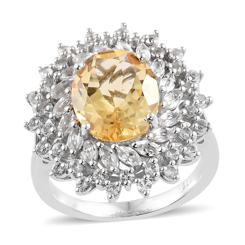 Madeira Citrine (Ovl 11x9 mm, 3.250 Ct), White Topaz Floral Ring in Platinum Overlay Sterling Silver 4.750 Ct.