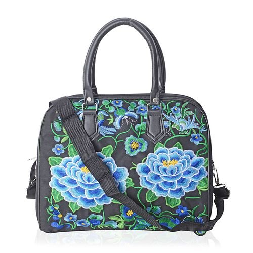 ShangHai Collection Floral Embroidered Large Tote Bags with Adjustable Crossbody Strap (35x29x16.5cm)