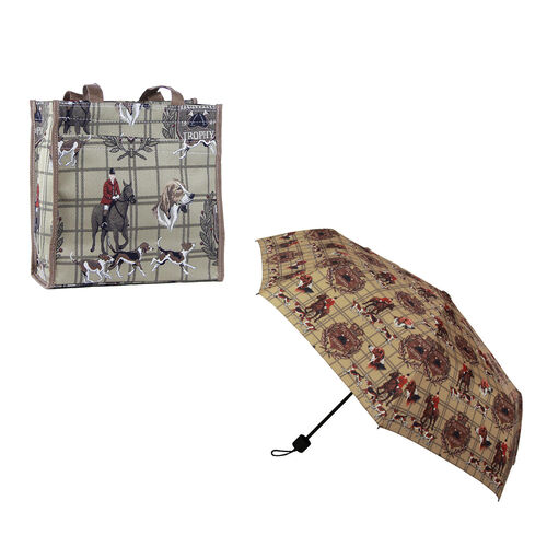 Signare Tapestry - 2 Piece Set - Hunting Print Shopping Bag (30X13X29cm) and Umbrella in Camel Colou