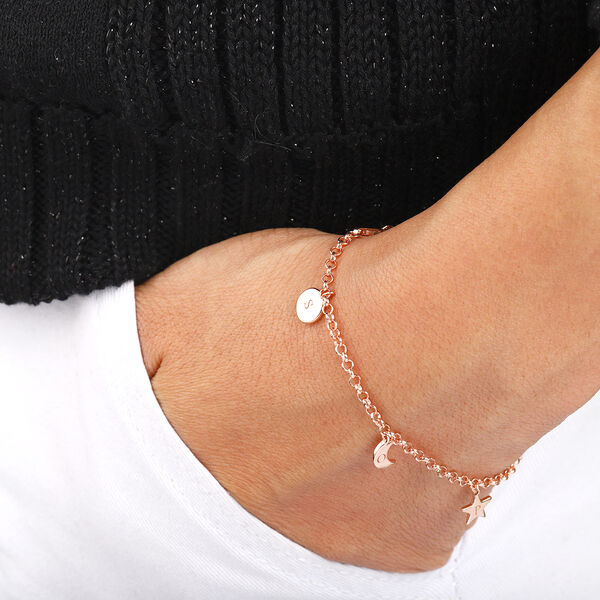 Personalise Engraved Initial Star,Moon and Disc bracelet with 7.5Inch Chain