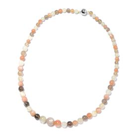 190 Ct Multi Moonstone Beaded Necklace in Rhodium Plated Silver 20 Inch