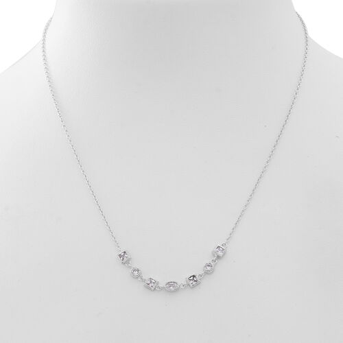 Super Bargain Price-ELANZA AAA Simulated White Diamond Necklace (Size 18) in Rhodium Plated Sterling Silver