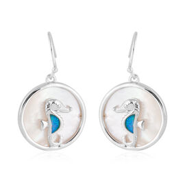 New Concept - Simulated Ocean Blue Opal and Mother of Pearl Seahorse Earrings (with Hook) in Sterling Silver.