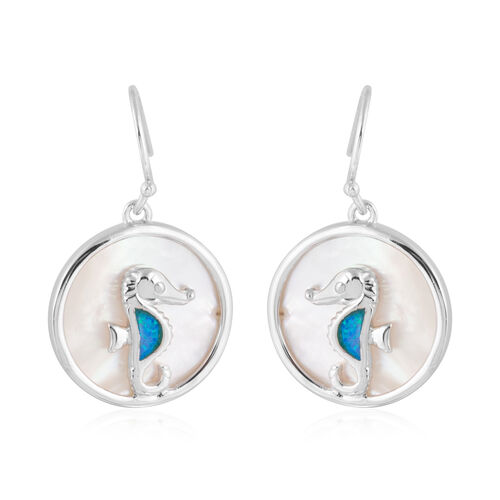 New Concept - Simulated Ocean Blue Opal and Mother of Pearl Seahorse Earrings (with Hook) in Sterlin