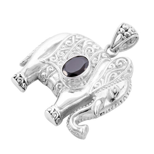 Royal Bali Collection - Elite Shungite Elephant Pendant in Sterling Silver Silver wt 7.00 Gms