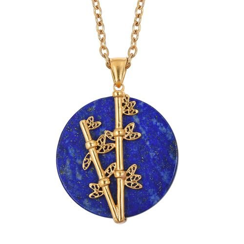 One Time Deal- Lapis Lazuli (Rnd) Nature Inspired Pendant With Chain (Size 20) in Yellow Plated 50.0