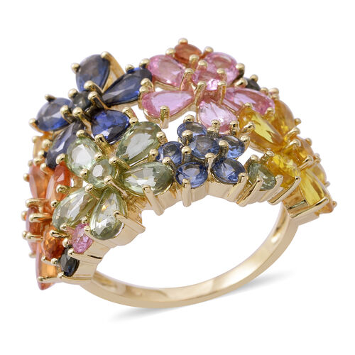 9K Yellow Gold AAA Rainbow Sapphire (Pear) Floral Ring 7.560 Ct. Gold wt 4.1 Gms.