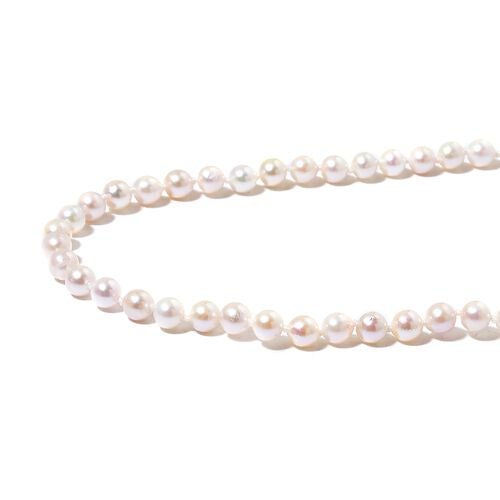 ILIANA 18K White Gold AAA Japanese Akoya Pearl (Rnd 5-6mm) Ball Beads Necklace (Size 20)