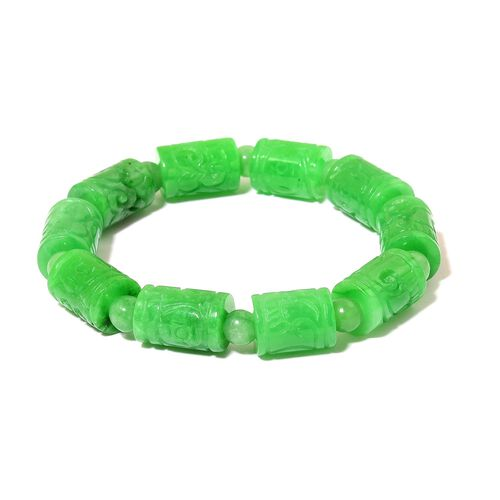 Rare AAA Green Jade Hand Crafted Engraved Stretchable Bracelet (Size 7.5) 195.000 Ct.