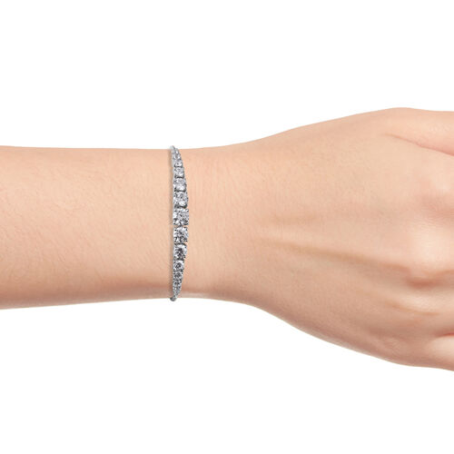 J Francis - Platinum Overlay Sterling Silver (Rnd) Adjustable Bracelet (Size 6.5 to 9.5) Made with SWAROVSKI ZIRCONIA