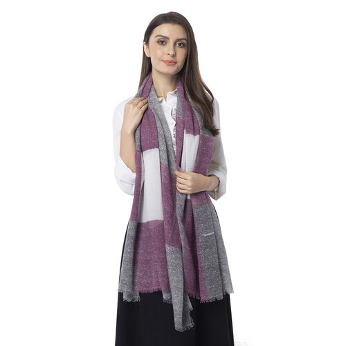 White, Plum and Black Colour Chequer Pattern Scarf (Size 180x90 Cm)