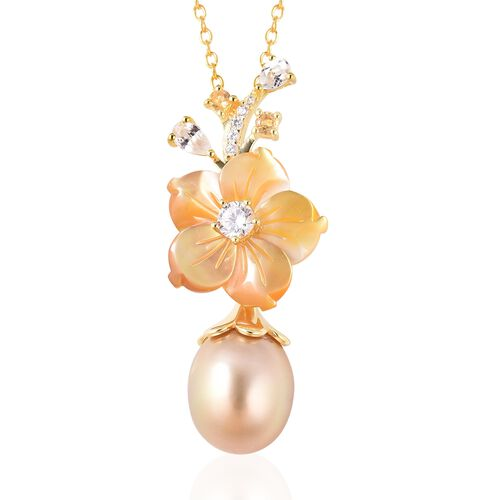 Jardin Collection -  Yellow Mother of Pearl, Golden South Sea Pearl, Citrine and Natural White Cambo
