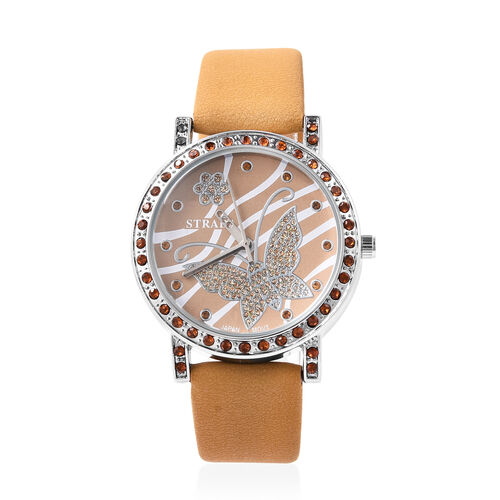 STRADA Japanese Movement Simulated Champagne Diamond Studded Butterfly Motif Dial Water Resistant Wa