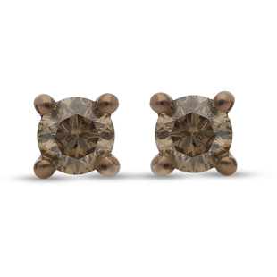 9K Yellow Gold Natural Champagne SGL Certified Diamond (I3) Earrings (with Push Back) 0.50 Ct.