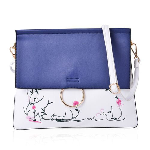 Designer Inspired - Flowers and Leaves Embroidered Navy and White Colour Shoulder Bag with Adjustabl