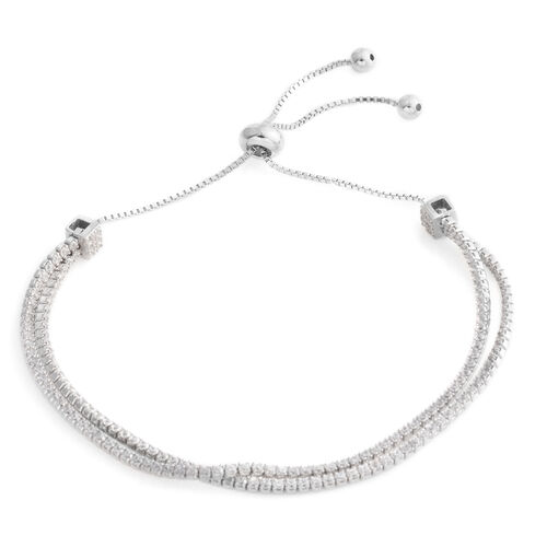 ELANZA Simulated Diamond (Rnd ) Adjustable Bracelet (Size 6.5 - 9) in Rhodium Overlay Sterling Silver, Silver wt 6.20 Gms.