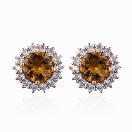 Xia Heliodor (Rnd), Natural Cambodian Zircon Stud Earrings (with Push Back) in Yellow Gold Vermeil S