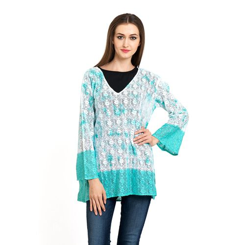 100% Cotton Laser Cut Floral Pattern White and Turquoise Colour Ombre Effects Poncho (Size 70x50 Cm)