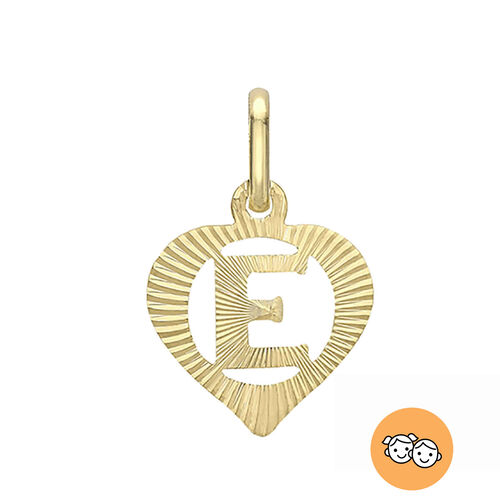 Children Diamond Cut E Initial Heart Pendant in 9K Yellow Gold