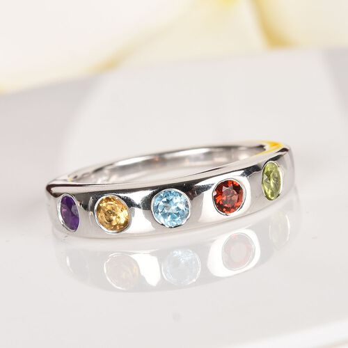 Sky Blue Topaz, Amethyst and Multi Gemstone Band Ring Platinum Overlay Sterling Silver 0.750  Ct.