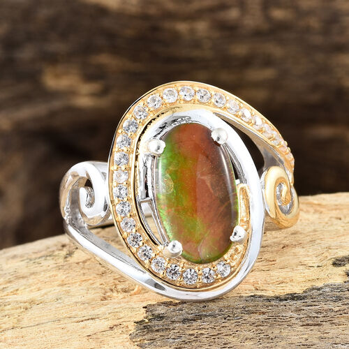 AA Canadian Ammolite (Ovl 12x7 mm), Natural White Cambodian Zircon Ring in Platinum and Yellow Gold Overlay Sterling Silver.