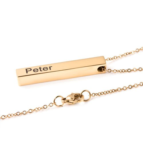 Personalise Engravable Gold Overlay Bar Pendant with 20Inch Chain