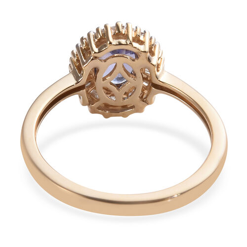 9K Yellow Gold Tanzanite (Ovl 7x5 mm), Diamond Ballerina Ring 1.00 Ct.
