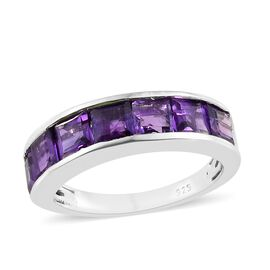 Lusaka Amethyst (Sqr) 7 Stone Half Eternity Ring in Platinum Overlay Sterling Silver 2.250 Ct.