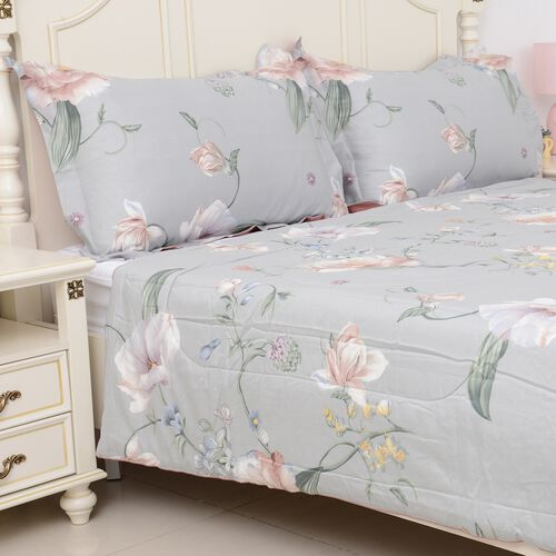 3 Piece Set - 100% Mulberry Silk Double Size Quilt with Cotton Floral Printed Cover and Two Pillow Case with Handle Bag Packing - Pastel Green