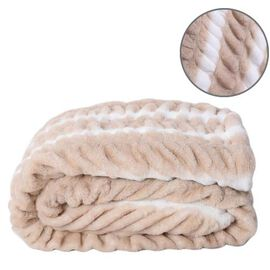 Supersoft High Quality Faux Fur Sherpa Ruched Blanket (150x200cm) - White and Light Brown
