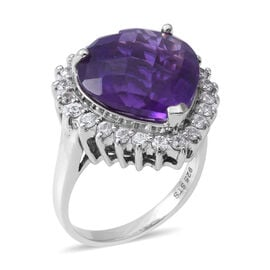 Amethyst (Hrt 15.20 Ct), Natural White Cambodian Zircon Ring in Rhodium Overlay Sterling Silver 17.1