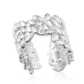 Platinum Overlay Sterling Silver Olive Leaves Open Ring, Silver wt 7.63 Gms.