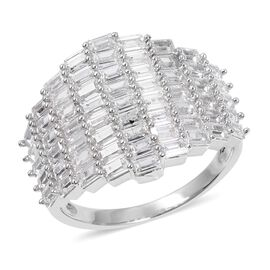 Simulated Diamond (Bgt) Cluster Ring in Silver Plated