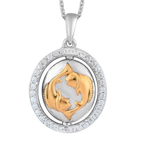 Natural Cambodian Zircon Zodiac-Pisces Pendant with Chain (Size 20) in Yellow Gold and Platinum Over