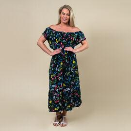 TAMSY 100% Rayon Floral Printed Maxi Dress (Size - M) - Black