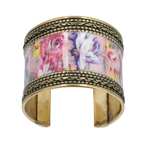 Meena Work Cuff Bangle in Antique Brass