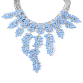 Simulated Blue Jade Leaf Waterfall Necklace in Silver Tone 17 with 4 inch Extender