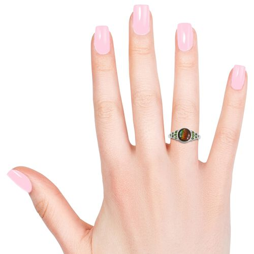 AA Canadian Ammolite (Rnd 8mm), Russian Diopside Ring in Rhodium Plated Sterling Silver 1.800 Ct.