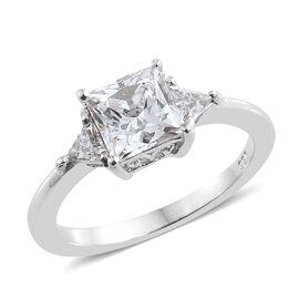 J Francis - Platinum Overlay Sterling Silver (Sqr 6 mm) Ring Made With SWAROVSKI ZIRCONIA