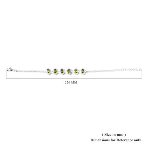 One Time Deal - Hebei Peridot Bracelet (Size 7 with 1.5 inch Extender) in Sterling Silver 5.31 Ct, Silver wt 8.75 Gms