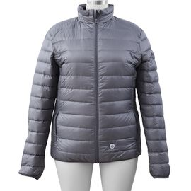 Japanese Heating Wire Puffer Down Vest with 3 Heat Setting in Silver Grey