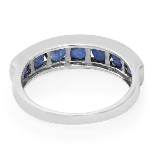 Kanchanaburi Blue Sapphire Half Eternity Band Ring in Rhodium Overlay Sterling Silver 2.63 Ct.