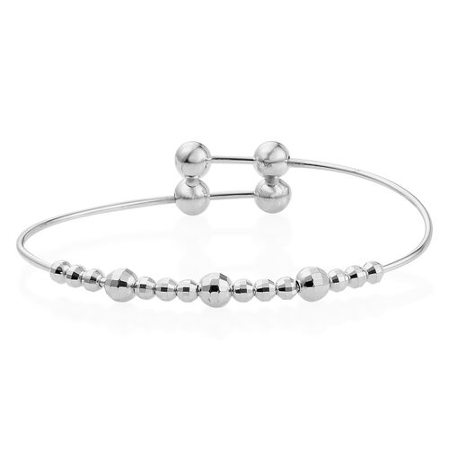 One Time Deal - Designer Inspired Sterling Silver Ball Adjustable Bangle (Size 6.5 to 8), Silver wt 7.13 Gms.